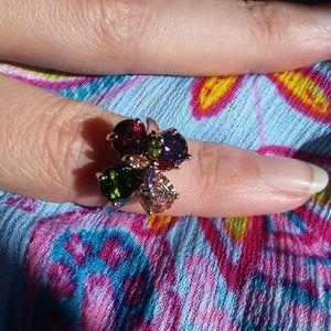Multi gemstone 14k white gold ring